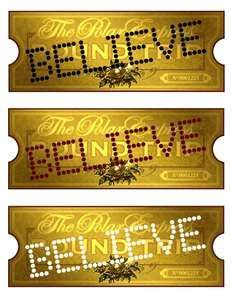 Printable polar express train tickets. *I'm not exactly sure what I'd use these for, but I'm inclined to save it anyhow!! Probably for use in the future, when we have kiddos, and doing a Polar Express themed evening (or party!), since it seems like a big deal around Christmas time.