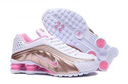 Nike Shox White Gold Pink Women's Running Shoes