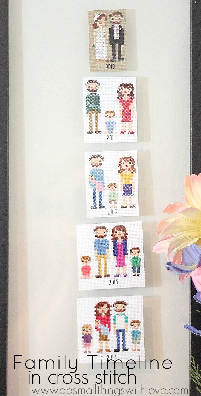It's finally done and hung and in my living room–my Family Time-Line in Cross Stitch. Yay! It has been a labor of love, but I am so happy it's done. Aren't we adorable in…