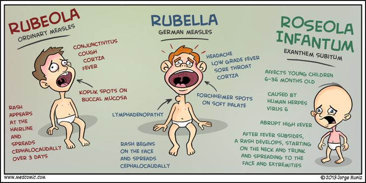 Medcomic: rubeola, rubella, and roseola...interesting...i thought there was just rubella