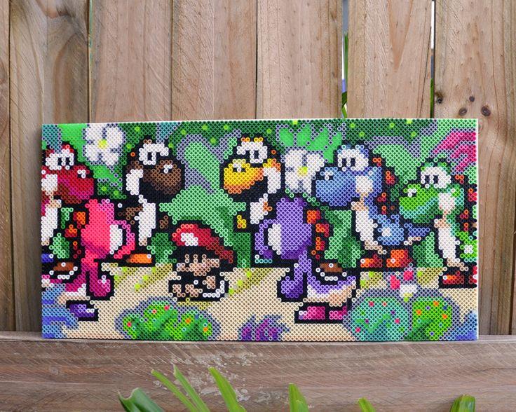 Yoshi's Island Perler Bead Wall Art by MandogDesigns on Etsy