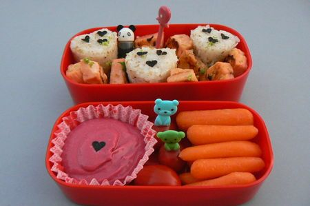 bentoBento Fun, Bento Boxes, Gingers Patti, Pack Lunches, Bento Ideas, Baby Carrots, Boxes Ideas, Lunches Boxes, Cherries Tomatoes
