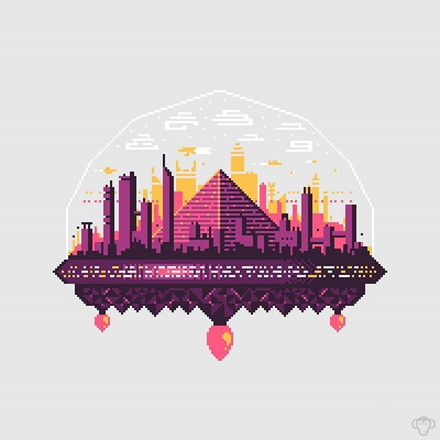 "Pixel Art: Clatratus-7! One of nine floating cities built upon a natural foundation of methane clathrate ""fire ice"" ❄ . . . #pixelart #pixel #8bitart #8bit #city #futuristic #future #scifi #space #sciencefiction #cyberpunk #clathrate #pyramid #digitalart #gameart #gamedev #vector #vectorart #superplum21"