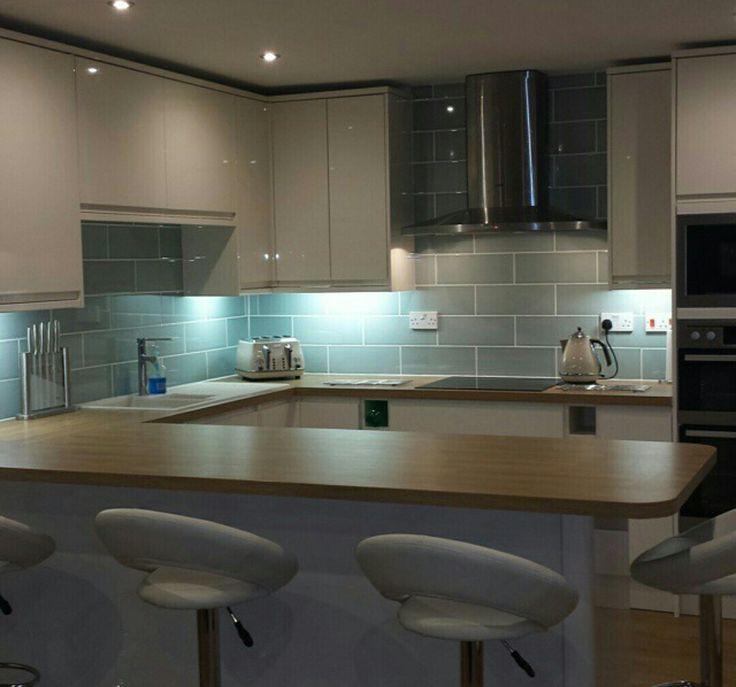 Duck Egg Green Kitchen Tiles: Attingham Seagrass Tile