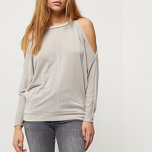 Grey cold shoulder batwing top - knitted tops - knitwear - women