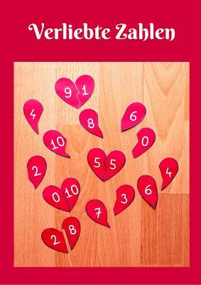 """Sonniges Klassenzimmer: Legespiel """"Verliebte Zahlen"""""""