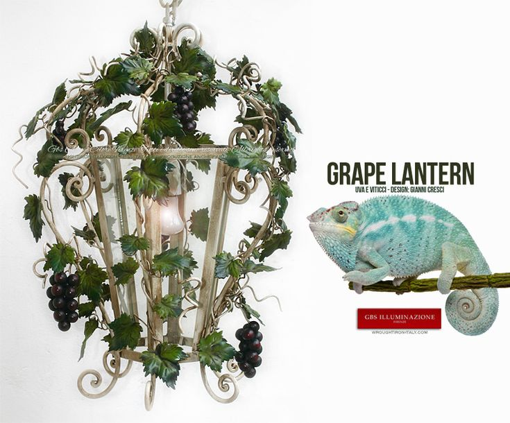 Grapes and Tendrils Hexagonal Lantern | GBS Illuminazione – Ferro Battuto – Wrought Iron – GBS Arte e Colore White hexagonal lantern with grapes and tendrils, shown here in the slimmer version. Suitable for lighting dining rooms and kitchens, and often sought as a chandelier for a gazebo or orangery, for patios and porches, and, of course, as a lantern for wine bars.