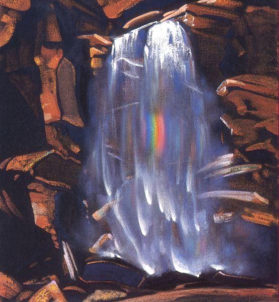 Святослав Рерих. Духовное искусство. Радуга водопада. 48х43 Холст, темпера. 1934