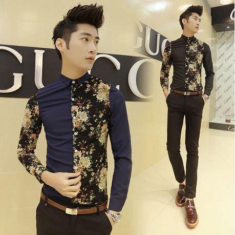 Recommend 2014 Asian Stylish Design Flower Patchwork Cool Man Shirt Black/Blue Wholesale Retail $24.88