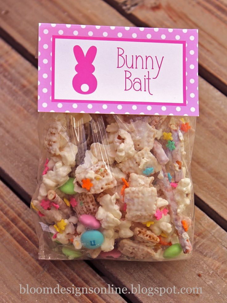 bloom designs... 2 cups pretzel stick, 2 cups Rice Chex and 1 bag white popcorn on cookie sheet.  Pour melted white melting candies over mixture and stir to coat...  sprinkle on your spring sprinkles... once the mix is set, add M's and package