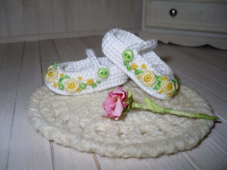 Dianna Effner Little Darling  crochet shoes embroidered with rose