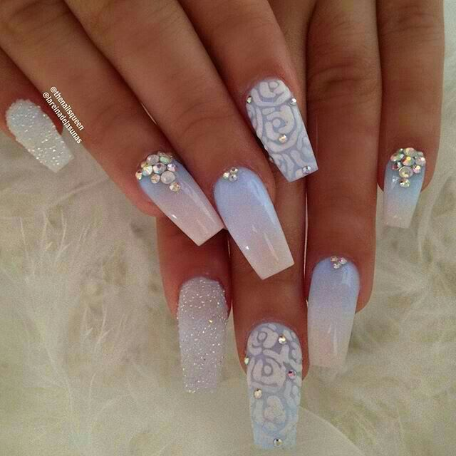 100 Best Beautiful Wedding Coffin Nail Ideas For The June Brides Diamond Nail Art Design Diamond Nails Cute Acrylic Nails