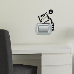 Sleeping Kitty Gattino che Dorme Adesivo per interruttore, spina, placca - Light Switch Sticker