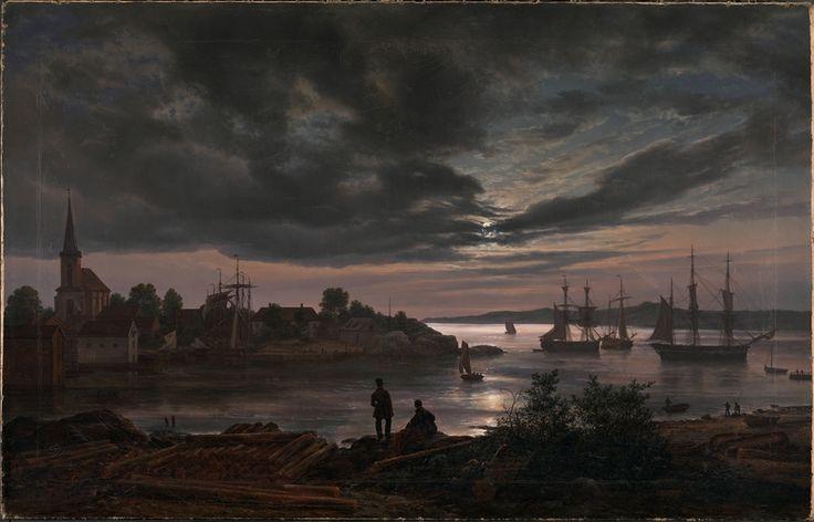 Johan Christian Dahl, Larvik havn i måneskinn – Nasjonalmuseet – Samlingen