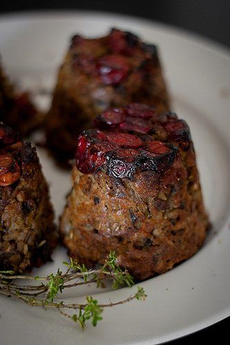 Cranberry & Pistachio Nut Roast by Jamie Oliver...From Monica Shaw's Vegetarian Thanksgiving...Looks like she made the recipe using a muffin tin to create individual loaves...