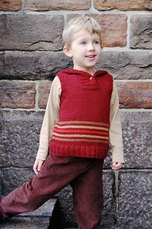 Aksel, a hooded vest. Free pattern.