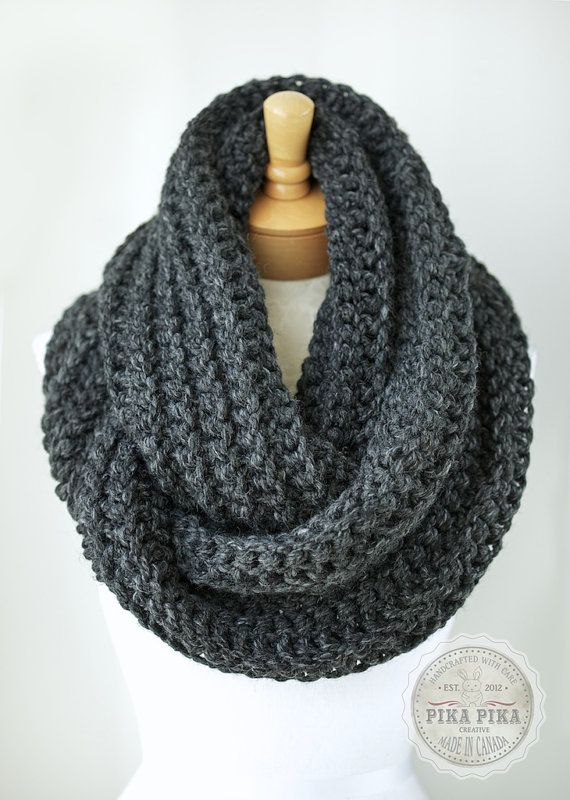 Oversized scarf, oversized chunky infinity scarf in CHARCOAL GRAY/dark gray heather - $68 on Etsy!!