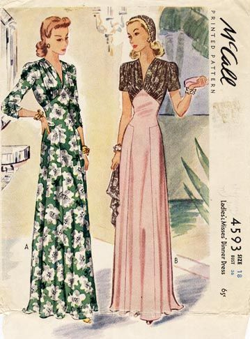 Lengthy, elegant hostess gowns ~ McCall 4593. #vintage #1940s #sewing_patterns