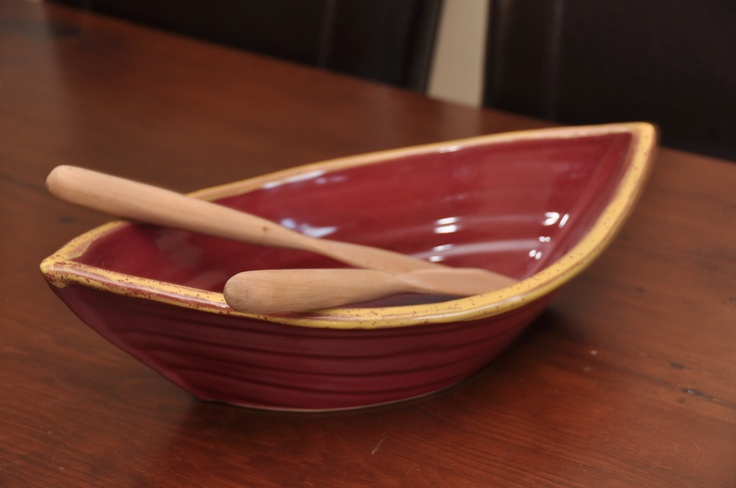 Long boat pottery bowl - great for salads or baking casseroles in.  So cute!  Bought at the One of A Kind Show in Toronto from Maxwell Pottery.