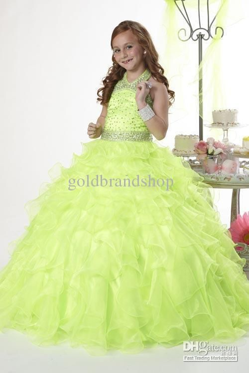 Wholesale Shiny Beaded Halter Ball Gown Flower Girl Pageant Formal Dance Party Evening Prom Wedding Dresses, Free shipping, $84.09/Piece | DHgate