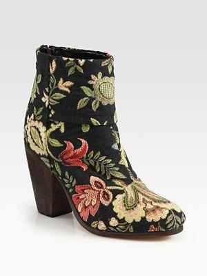 Rag & Bone Floral-Print Canvas Newbury Ankle Boots