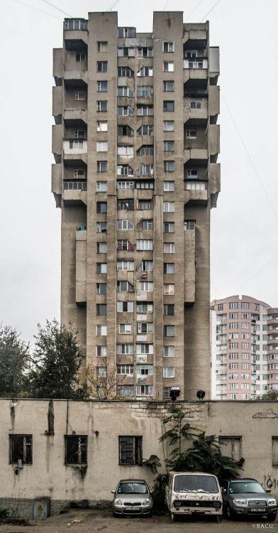 socialistmodernism: Housing building,Albisoara, Chisinau, Moldova,built in 70-s