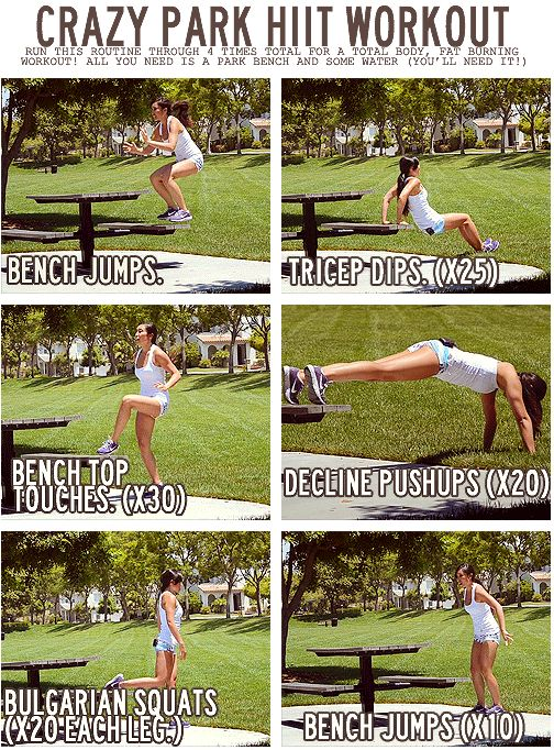 Crazy Park HIIT Workout. park bench workout. full body workout. no gym.