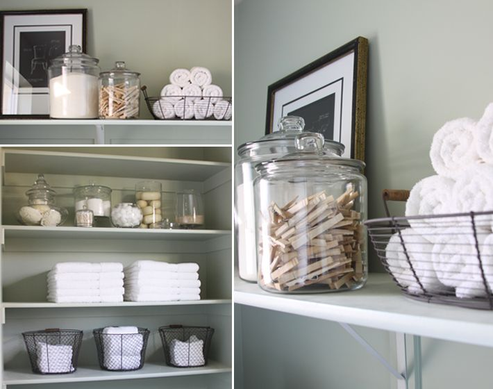 laundry room organization: Ideas, Laundry Rooms Organizations, Shelf Style, Bathroom Storage, Shelf Styling, Glasses Jars, Wire Baskets, Bathroom Decor, Bathroom Shelves