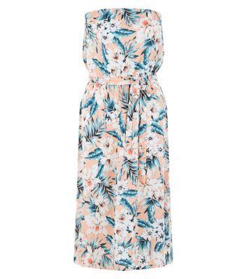 Pink Jungle Print Bandeau Midi Dress