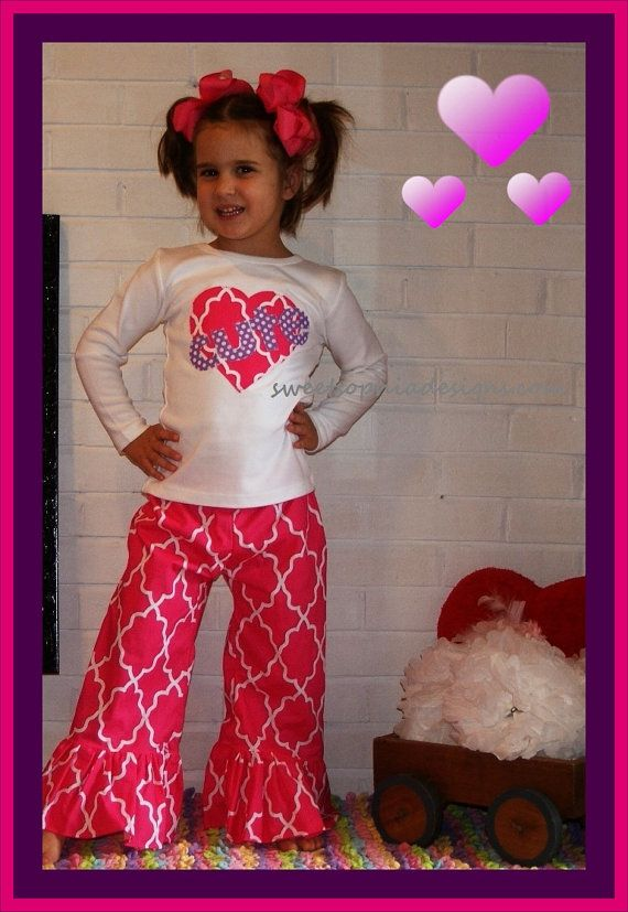 SALE ... Valentine Ruffle Pants Outfit for Girl ... Infant up to Girl size 8 ... SALE on Etsy, $38.99