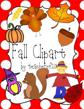 $This clipart pack includes the following in vibrant colors: a scarecrow, a scarecrow head, an acorn, a ghost, 3 types of leaves, an owl, a pumpkin, a squirrel, a turkey, and a wheat image. It also includes black and white versions of the following images: an acorn, two leaves, an owl, a pumpkin, and a squirrel.