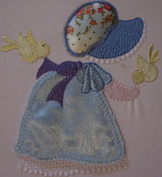 BES389_SINGLE: Country Sunbonnet6 Country Sunbonnet done in pretty satin and matching 'granny print'.  Bring her to 'life' using our 'stump work' method.  She is so pretty and perfect for all those special projects.  Country Sunbonnet is really fun to make ;) http://tinyurl.com/z2u7hcv