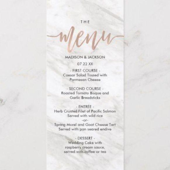 White Marble Rose Gold Elegant Wedding Menu Elegant Wedding Menu Coffee Shop Menu Wedding Menu