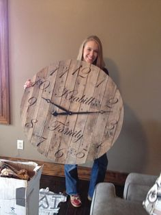 Pallet clock. Husband made it for me for our first Christmas! Size 3ft diameter.