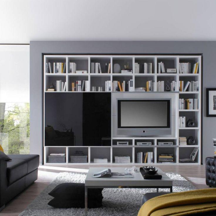 TV-Wand Empire - Hochglanz Weiß / Schwarz