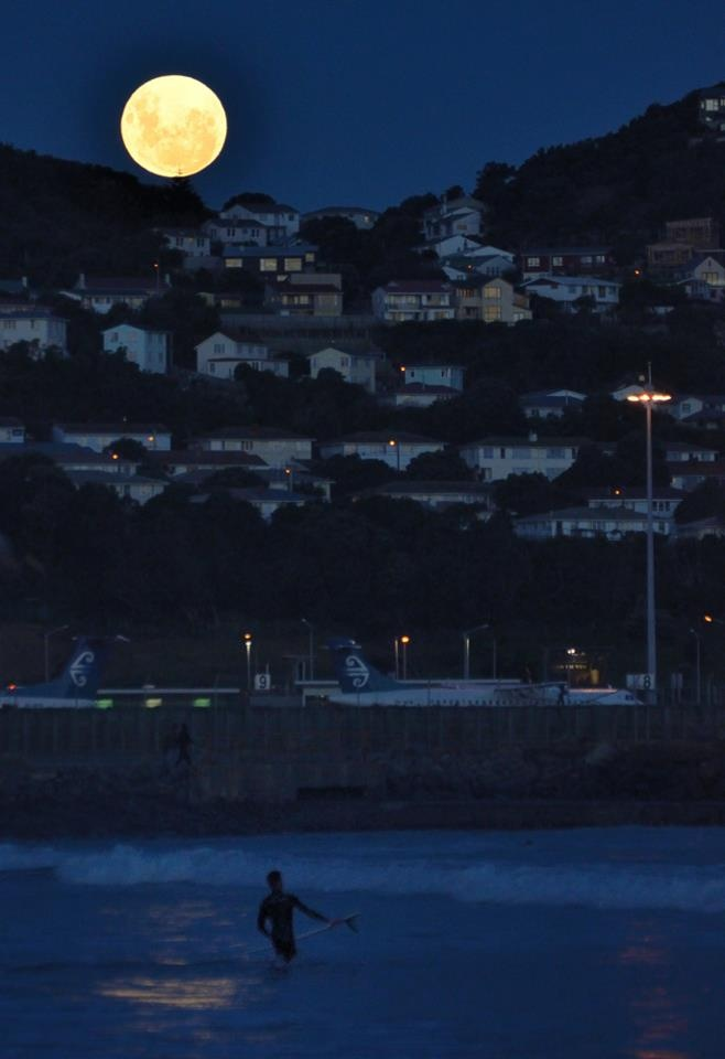 Surfing under the super moon. Lyall Bay, 06.05.2012  via 100% Pure New Zealand