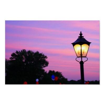 $22.05 #sky #sunset #lightpost #tree #july4th #balloons #poster #zazzle