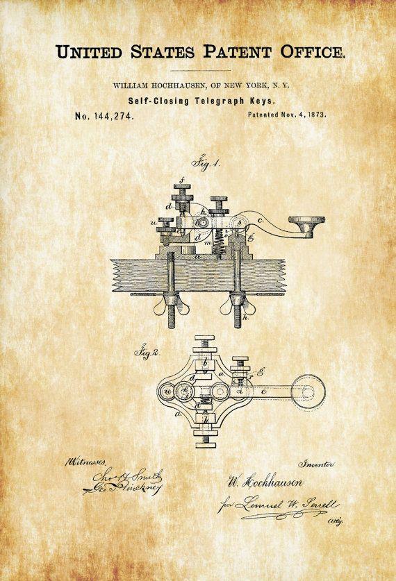 Telegraph Keys Patent - Patent Print Wall Decor Telegraph Poster Patent Office Decor Geek Gift Telegraph Patent by PatentsAsPrints