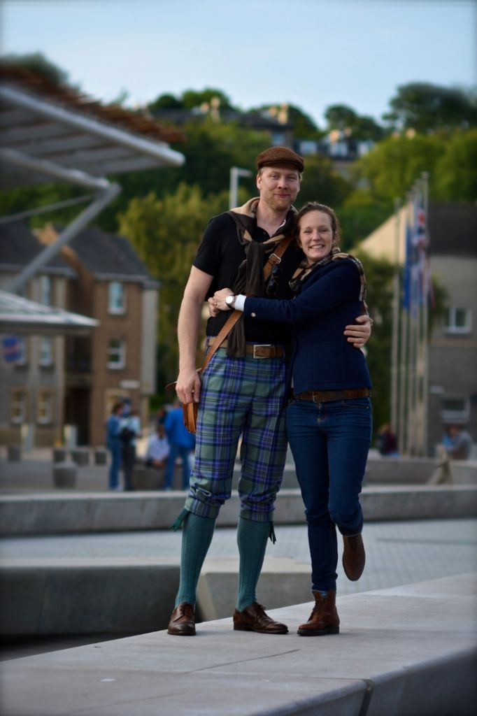 Ryan and Alette, in Edinburgh, wearing a tweed hat from W Bill (of Harrisons of Edinburgh ) and a pure cashmere tartan scarf from Scotland.