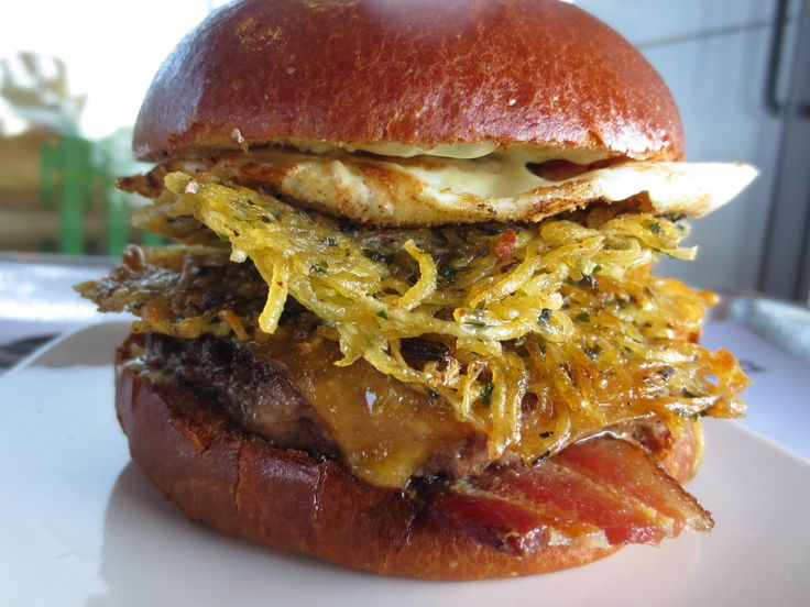 Say hello to THE BREAKFAST BURGER • Signature burger patty topped ...