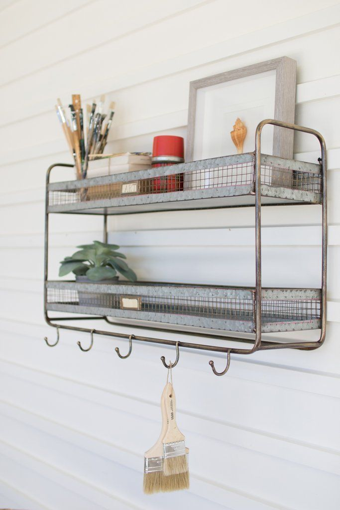 Kalalou Double Wall Shelf With Coat Hooks In 2020 Wall Shelves
