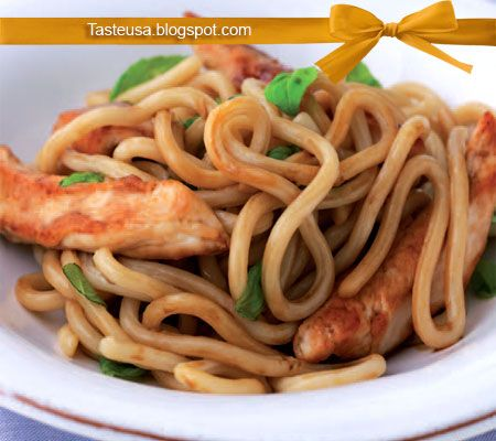 chicken with noodles and basil