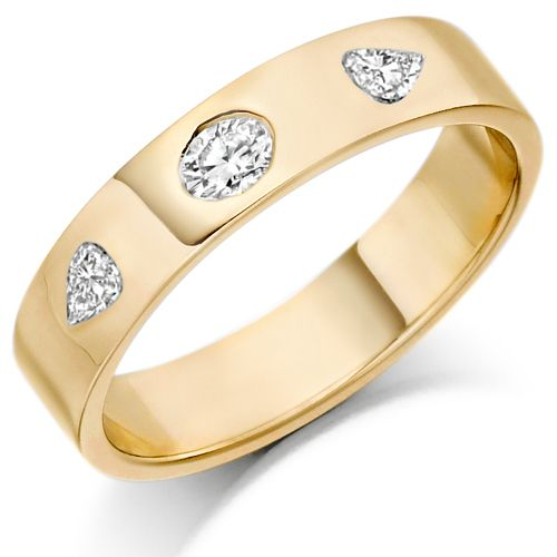 House of Williams 9ct Yellow Gold Ladies 4mm Wedding Ring Set with Oval and Pear Shape Diamonds, Total Weight 0.26ct