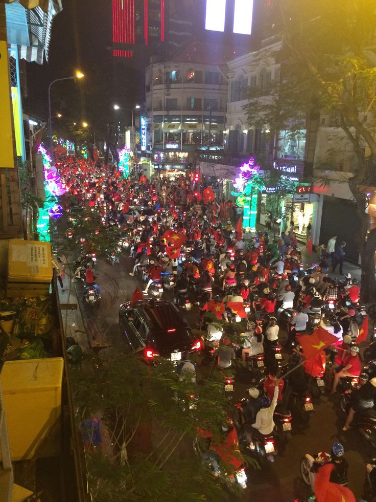 Vietnam celebrating in the streets after losing to UZB in the youth soccer final