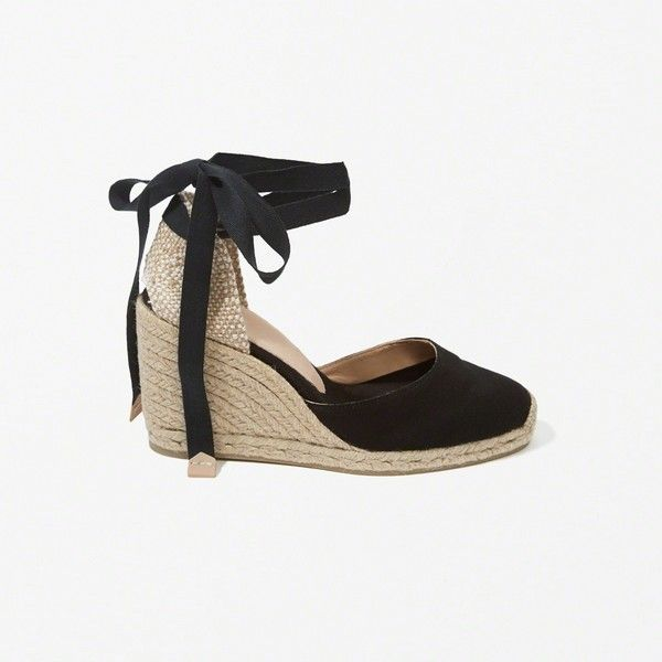 Abercrombie & Fitch Castaner Carina Wedges (940 SEK) ❤ liked on Polyvore featuring shoes, black, espadrille wedge shoes, black wedge shoes, black closed toe shoes, black espadrilles and lace up espadrilles