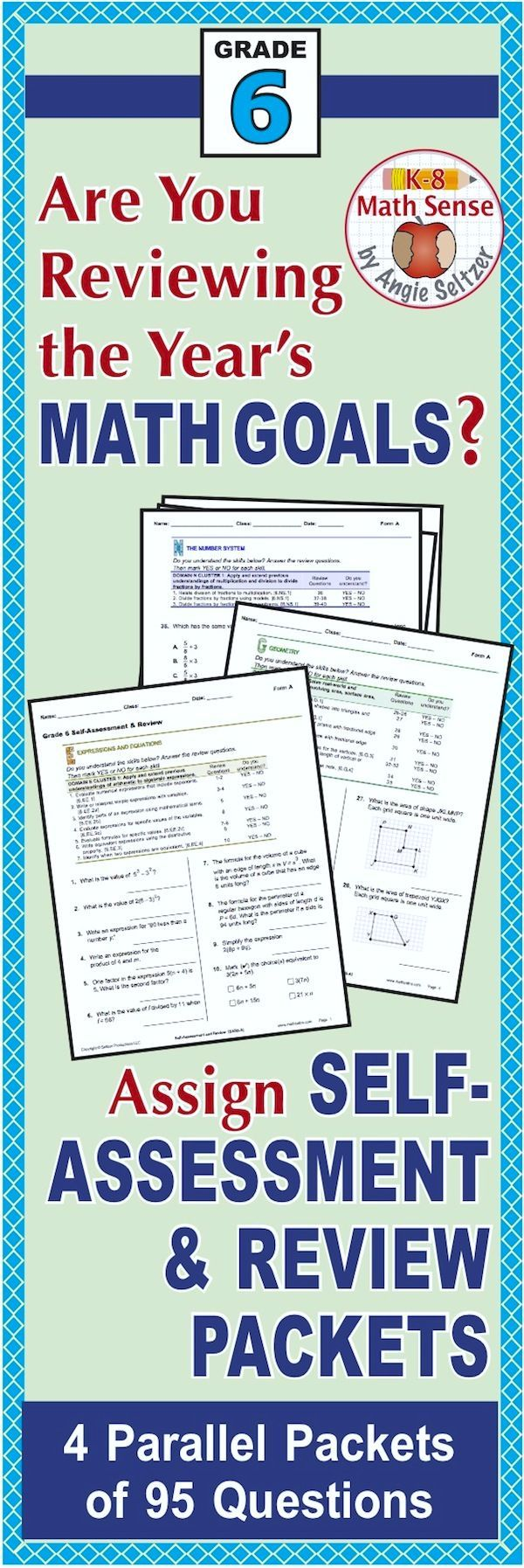This bundle includes four comprehensive review packets for Grade 6, also available separately. The four forms (A-D) are parallel and can be used as pre- and post-tests, review, or quick reference. Questions are grouped by domain and aligned to a list of Common Core goals for self-assessment. The PREVIEW shows Form A. Take a look! ~by Angie Seltzer