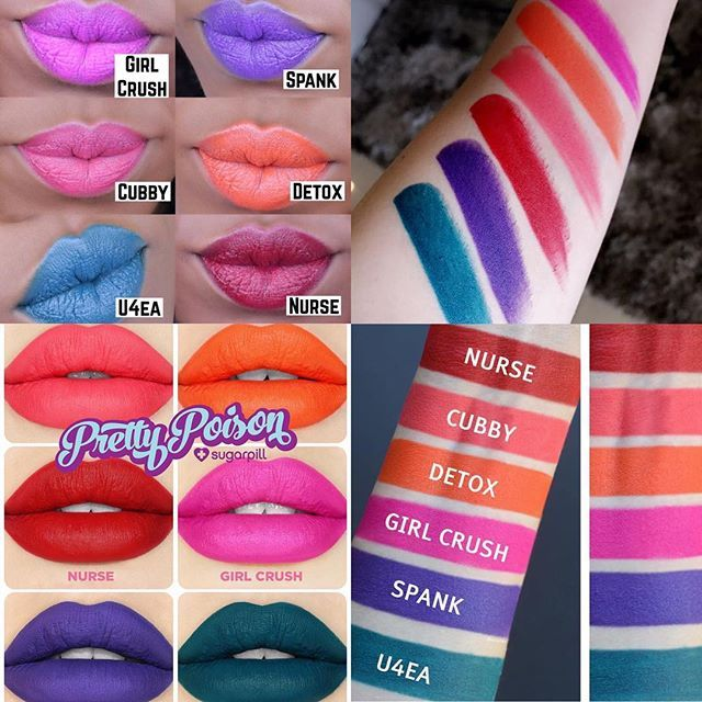 More #Swatches  #PrettyPoison #Collection @sugarpill #Lipstick Includes 6 shades: Detox - revitalizing orange, matte  Cubby - peachy-pink coral, matte Girl Crush - vivid matte fuchsia with blue undertones.  Nurse - true matte red with blue undertones Spank - deep blue-based violet, matte  U4EA - Super saturated, darkened matte teal. $20 Each / $120 Bundle  Will be available ➡️ Tomorrow @ Noon PST on their website  What's on your list? ✌️ #TRENDMOOD #sugarpill #cosmetics #lips #li...