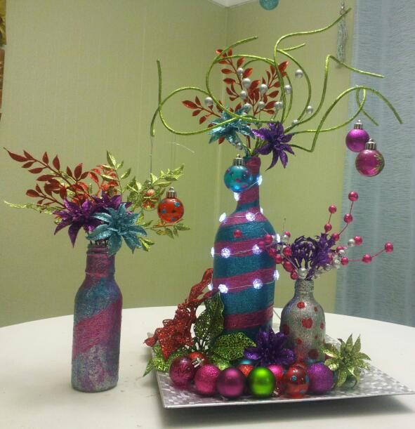 Whoville centerpieces for Christmas lunch Whoville Grinch theme ladies something to do with your empty wine bottles