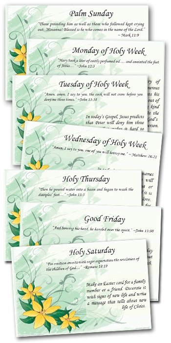 Holy Week Activity Cards    http://go.sadlier.com/holy-week-activity-cards