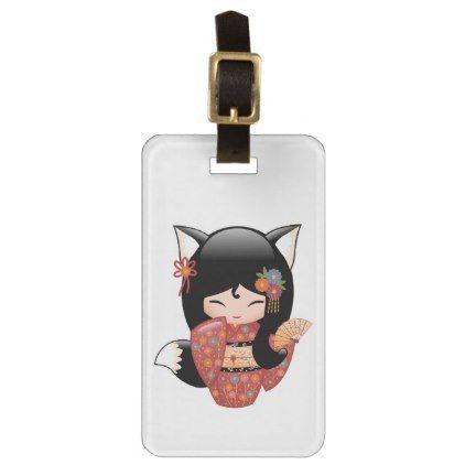 Kitsune Kokeshi Doll - Black Fox Geisha Girl Luggage Tag - girl gifts special unique diy gift idea
